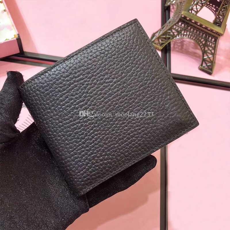 2021 مصمم الرجال محفظة جودة عالية جلد طبيعي إلكتروني قصير أسود محفظة الأزياء حامل بطاقة غطاء الائتمان معرف حقيبة الأعمال حقيبة