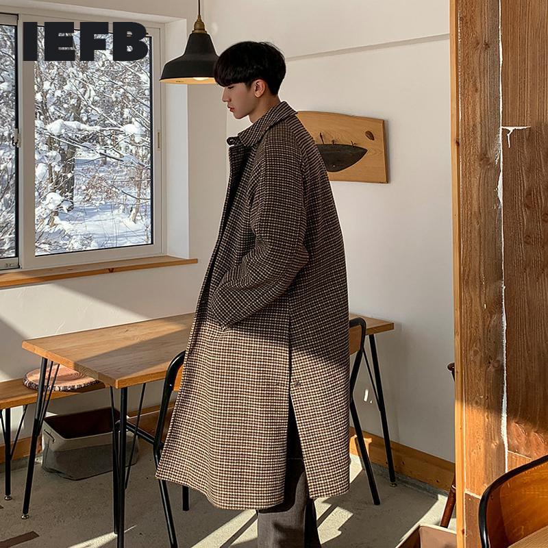Herren Wollmischungen IEFB Mantel Winter Koreanische Mode Paar Retro Plaid Jugend Taschen Mittellänge über Knie Split Lose Tweed Coats9Y8434