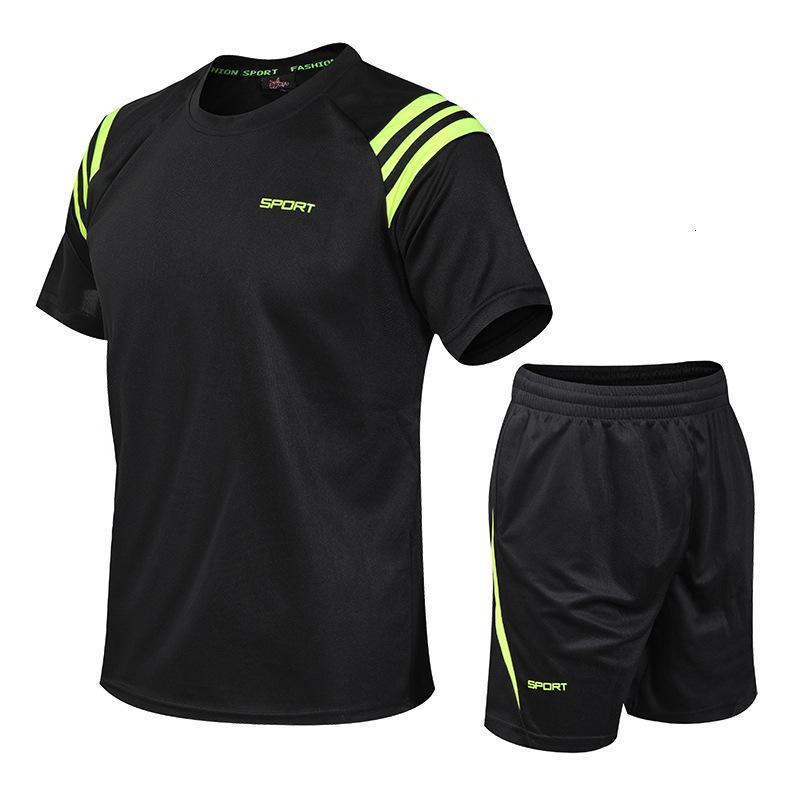 TrackSuit Hommes Costume Trois bars Rond Rond Non Roldable T-shirt à manches courtes à manches courtes Loisirs Summer Fitness