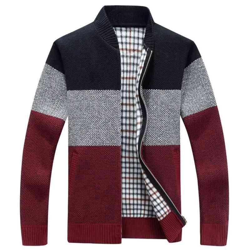 Kış Moda Patchwork erkek Örme Ceketler Kalın Comfy Uzun Kollu Kazak Ceket Sıcak Standı Yaka Güz Casual Hırka 210812