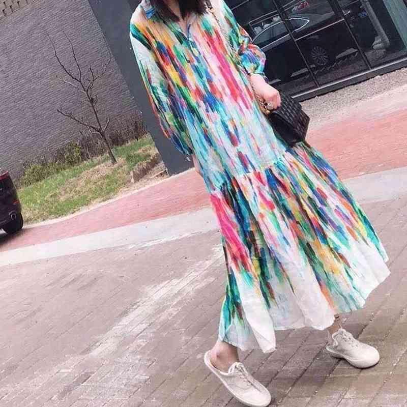 캐주얼 드레스 유럽 및 미국 옷깃 넥타이 염색 인쇄 휴일 느슨한 긴 드레스 F1b9