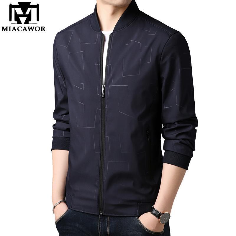 Jaquetas masculinas Miacawor Primavera Outono Bomber Jaqueta Homens Casuais Windbreaker Homem Fino Casaco Outwear Plus Size Roupas J657