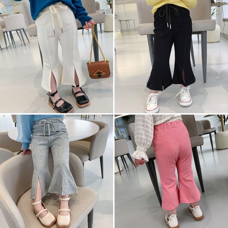 Spring Kids Filles Fashion Flare Pantalon Design Pantalon Coton Vêtements de bébé coréen 999 v2