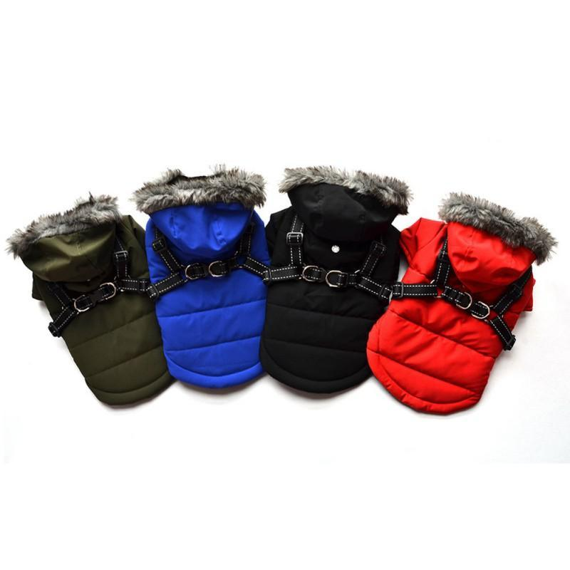 Hundebekleidung Kleidung Haustier Verdickte Kaschmirstreifen Warme Baumwolle Kostüm für Katze Welpen Herbst Winter Vollfarbige Mantel Mantel Easy Wear