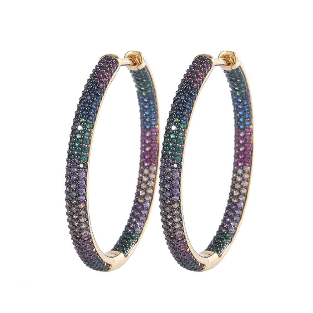 Rainbow cz micro pave hoop earring jewelry woman earring