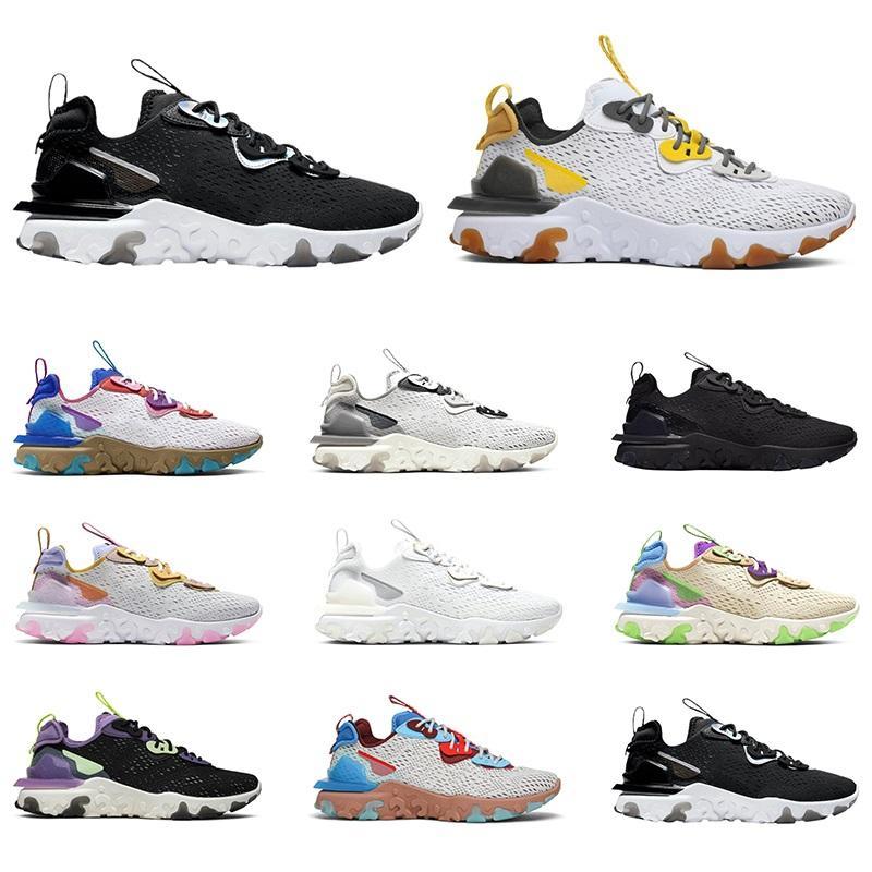 رد فعل عنصر الرؤية 55 87 الاحذية الرجال النساء chaussures الثلاثي أسود أبيض قزحي honeycomb رجل المدربين الرياضة أحذية رياضية الحجم 36-45