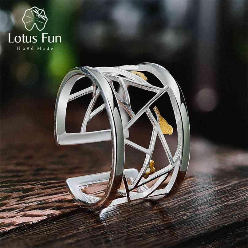 Lotus Diversão Real 925 Sterling Prata Aberto Aberto Jóias Fine Elemento Oriental Janela Decoração Papel-Cut Design Anéis para Mulheres 210610
