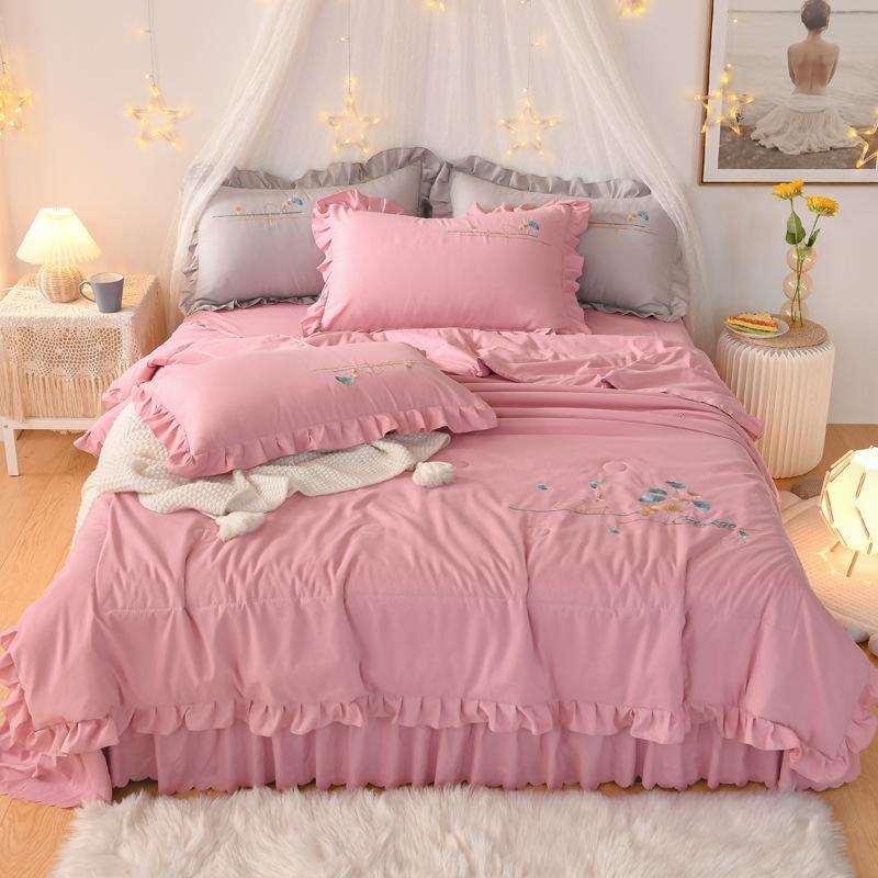 Korean Shuxiang Cotton Princess Style Embroidery Lace Cool Summer Air Conditioning Quilt Bed Skirt Type Sheet Four