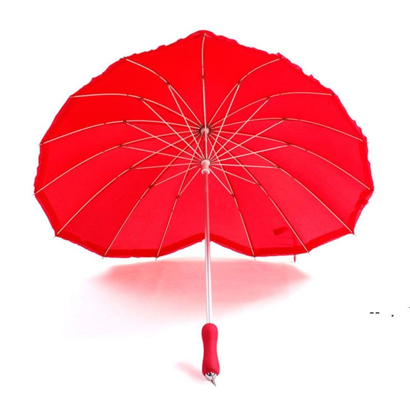 Güzel Kalp 16 K Firma Katı Kırmızı Düz Güneş Şemsiye Yağmur Kadınlar Gelin Şemsiye Araçları Hediye Düğün Dekorasyon OWF6271