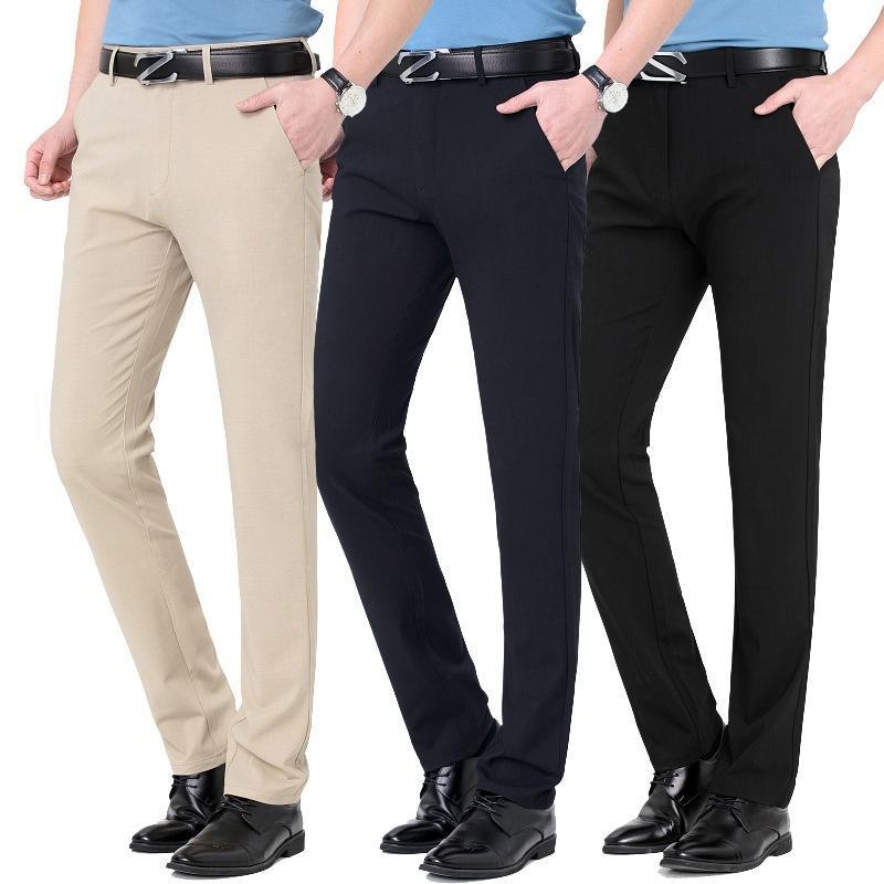 Pantaloni da uomo 2021 Casual Primavera ed estate Slip Straight Business Business Pantaloni versatili Dad Patame di mezza età