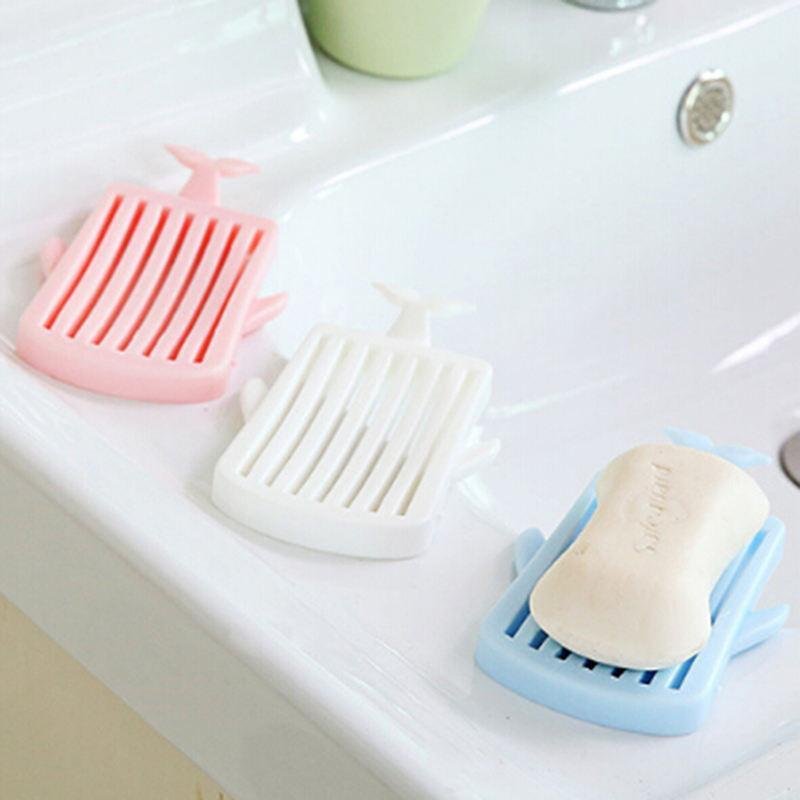 Creative Cute 1Pcs Whale Dish Portable Soap Dishes Container Bathroom Accessories Travel Home Plastic Box