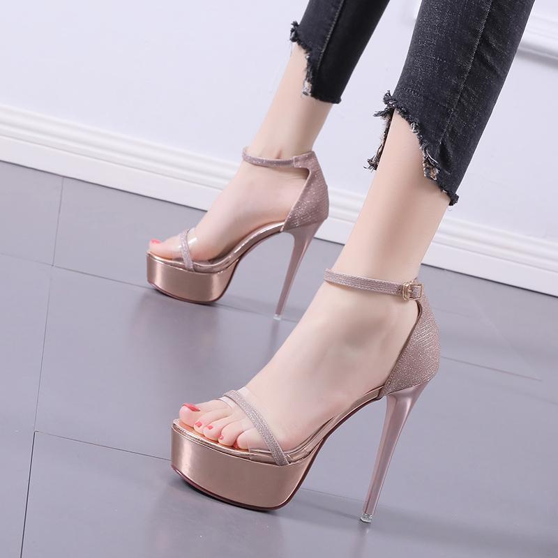 Gold High Heels Sandales Femmes Robes d'été pour chaussures 12cm Plate-forme de talon PEEP TOE GIRLES Sliver Filles Mesdames