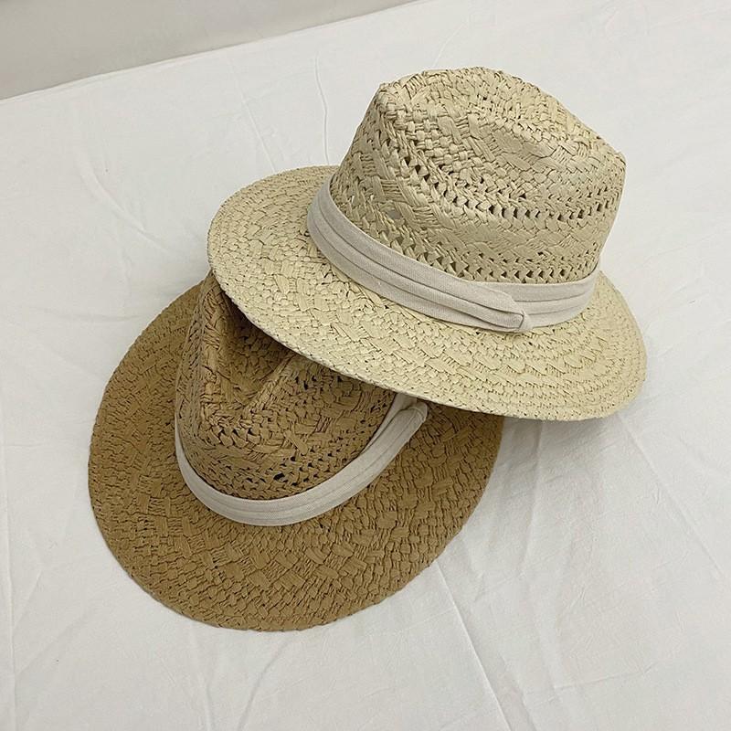 Caz Şapka Yaz Kadın Geniş Ağız Seagrass Hasır Şapka Şerit Moda Bayan Güneş Şapkaları ile Panama Plaj Kap Katı Renk