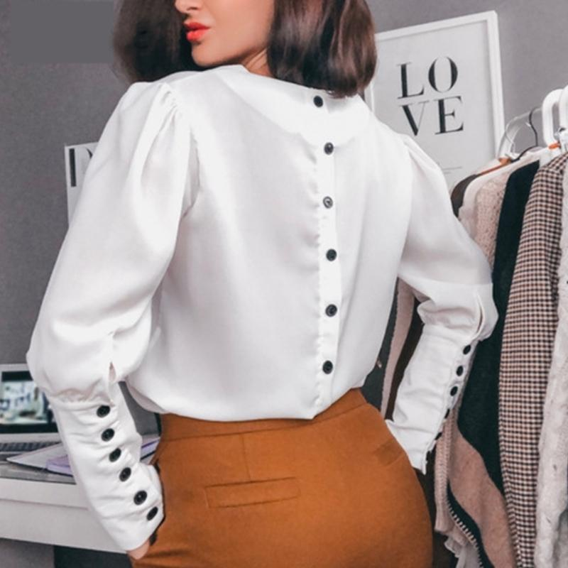 Women Office Lady Back Button Blouse Long Sleeve Sexy V neck Solid Elegant Casual Shirt Autumn New Fashion Women Tops 210412