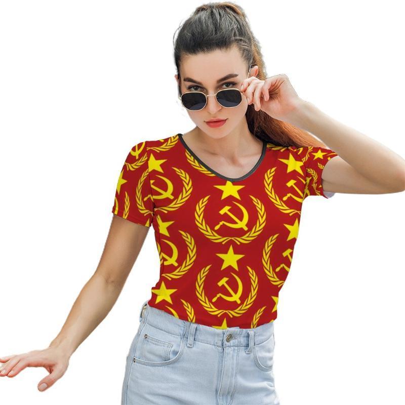 Kadın T-shirt Bayrak Tee Gömlek Desen Kadın T O Boyun Basit Kısa Kollu Sokak Stil Polyester Tshirt