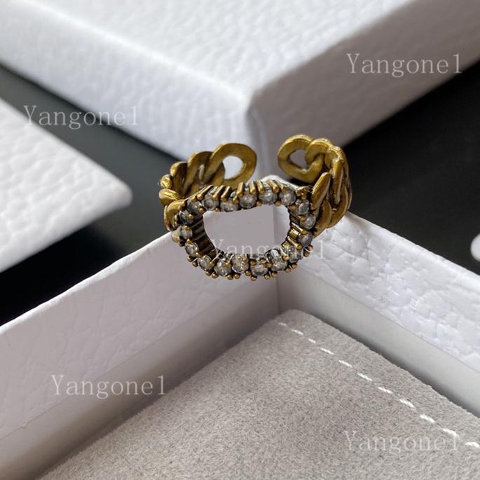 2021 Mode Retro Brief Ring Bague Für Dame Frauen Party Hochzeit Liebhaber Geschenk Engagement Schmuck Öffnung Ringe Top Qualität
