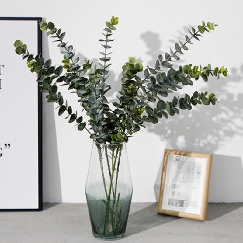 النباتات الاصطناعية لينة البلاستيك الأوكالبتوس الأخضر الديكور الزهور مصنع ديكور المنزل وهمية يترك الزفاف محاكاة بونساي