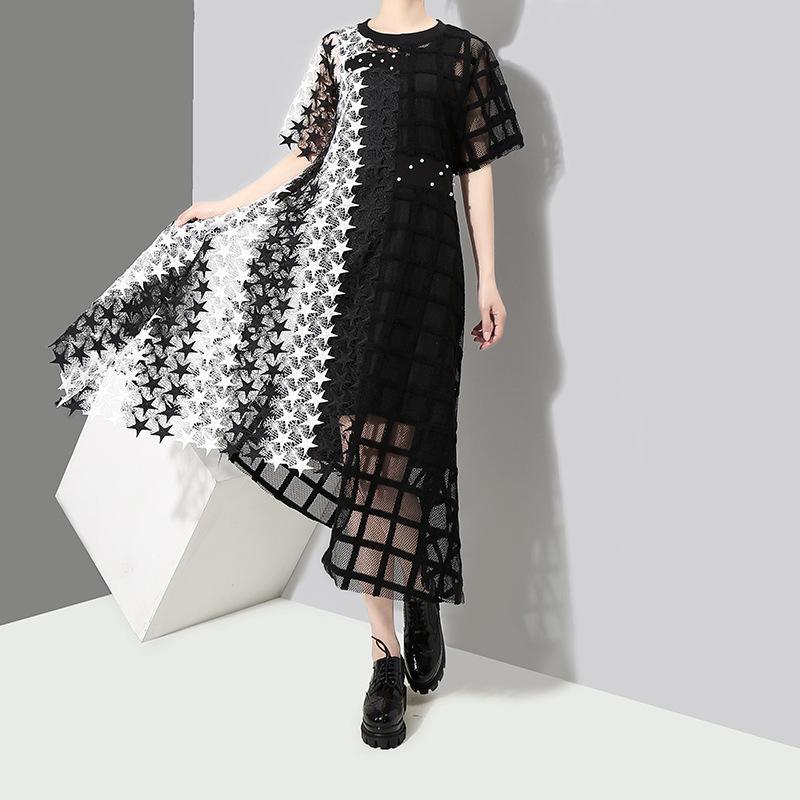 Manta das mulheres 2020 vestido estrela verão retalhos nova saia irregular 3517