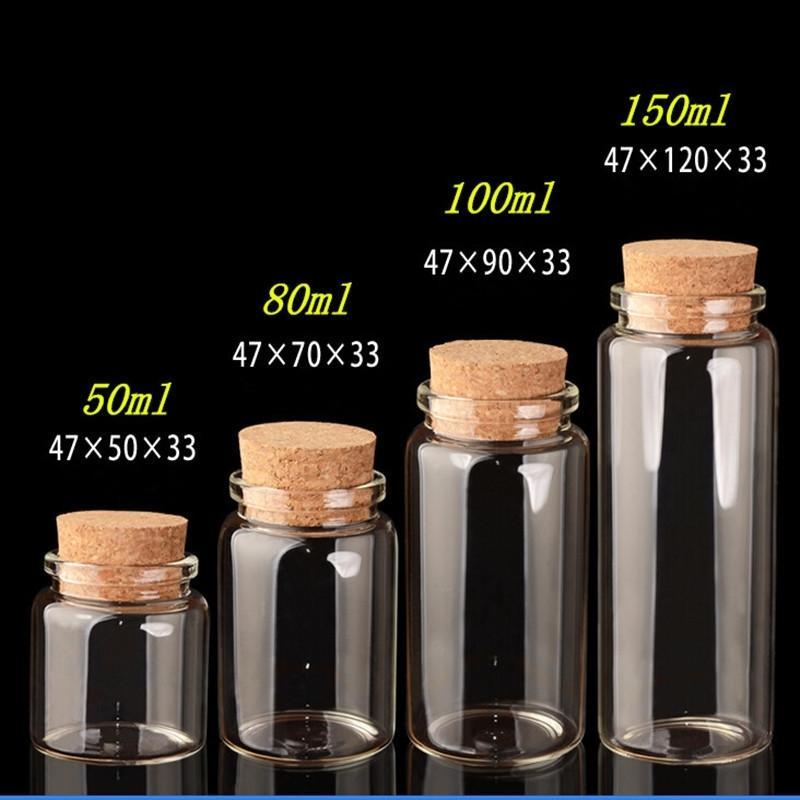 Verre avec artisanat de liège cadeau de mariage 50ml 80ml 100 ml 100 ml de pots de pots vides de pots de conteneurs 24pcs210331
