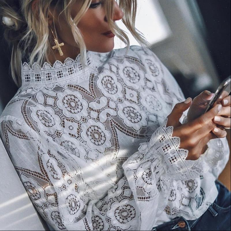 Women White Shirt Lace Tops And Blouse Ladies Long Sleeve Stand Collar Elegant Sexy Shirts Summer Spring Fashion