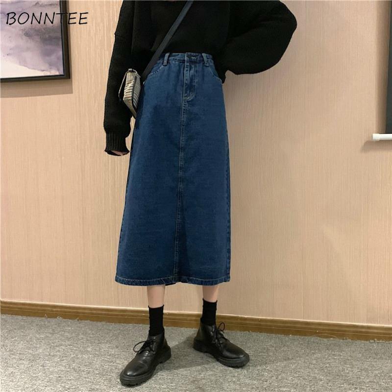 스커트 여성 레트로 데님 빈티지 트렌디 한 한국어 일일 A 라인 간단한 디자인 여성 스커트 세련된 세련된 제국 소녀 Faldas