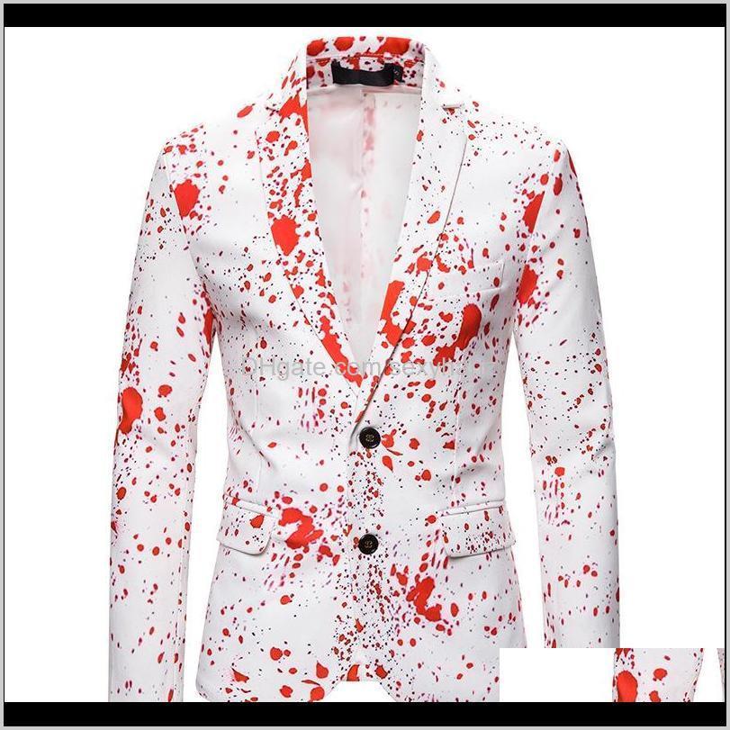 Suits & Blazers Mens Clothing Apparel Drop Delivery 2021 3D Splash Ink Print Autumn Christmas Suit Jacket Men Blazer Party Wedding Prom Stage