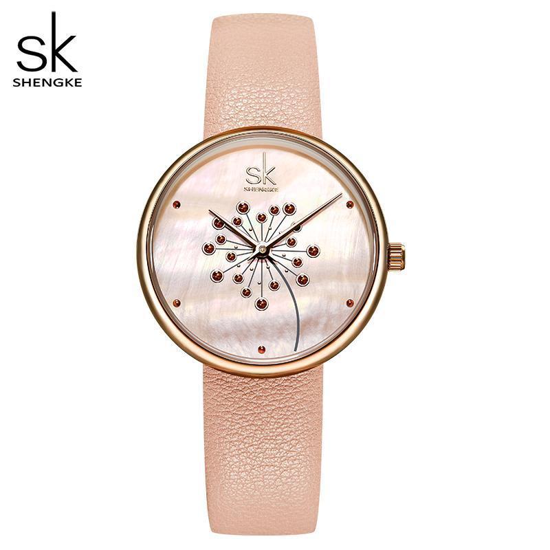 Armbanduhren Shengke Uhr Frauen Mode Lässig 30m Wasserdichte Quarz Qatches Lederband Sport Damen Elegantes Handgelenk Mädchen
