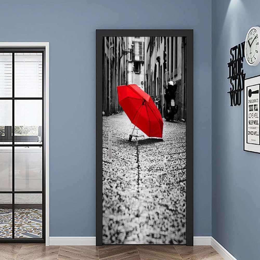 Adesivos Quarto Vermelho Pasta Pasta De Chuva Guarda-chuva Decoração Da Porta Dobrável Dirtant Ristant Auto Adhive Pintura Decorativa Removível