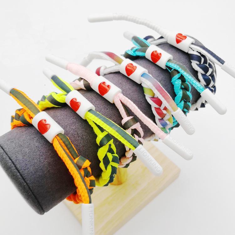 Encanto pulseras no león holográfico reflectante shoelace tejido plástico estudiante pareja arco iris