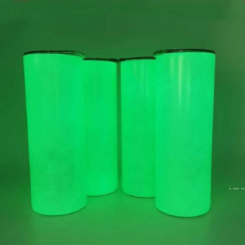 DIY Süblimasyon Tumblers Kupa Karanlık Kupalar 20 oza Glow Aydınlık Boya Luminous1 Bardaklar Ile Düz Sıska Tumbler Deniz Gemi HWE6027
