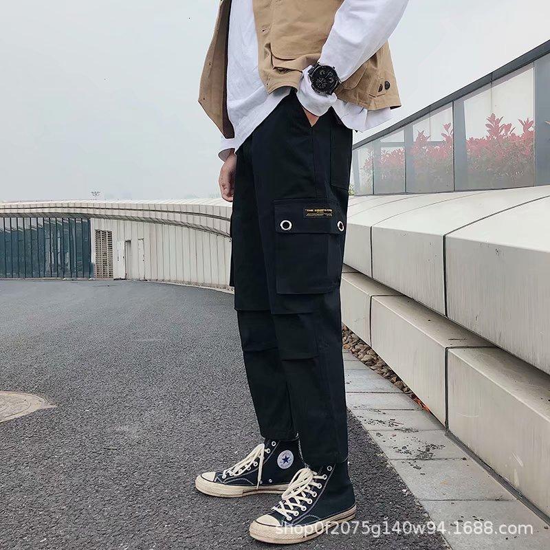 Весна и осень мужская повседневная тенденция студенческие спортивные спортивные корейские прямые трубки комбинезоны молодежные штаны