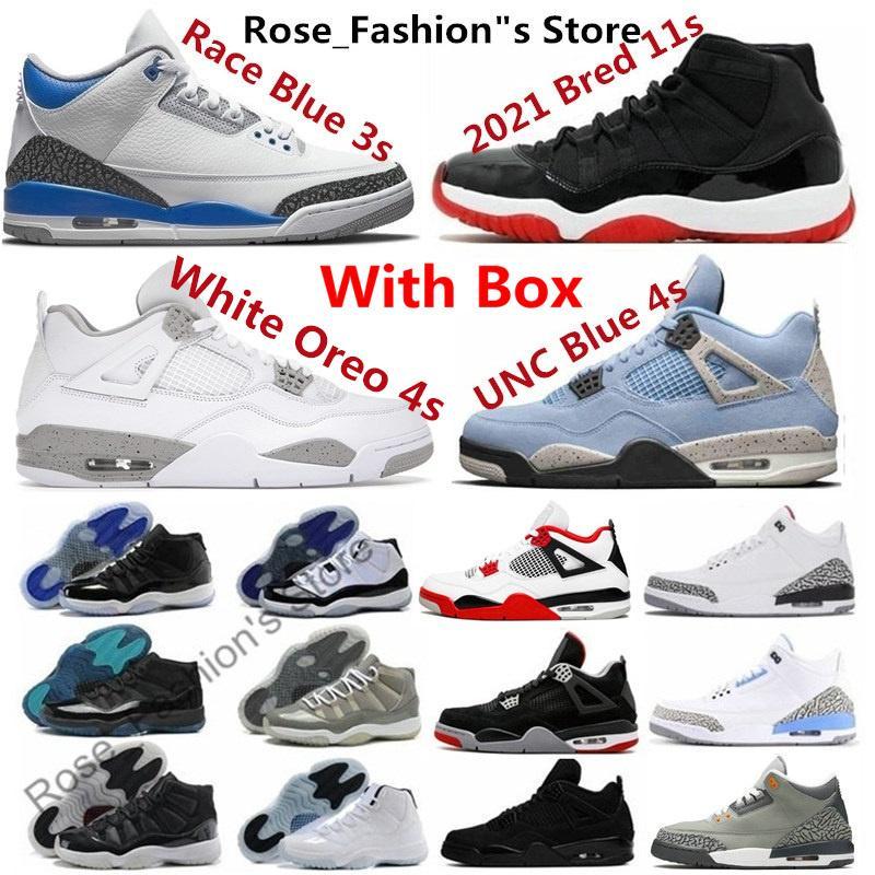 Oreo bianco 11 uomini scarpe da basket Jubilee 11s Sneakers Race University Blue 1 Bred 4s Legend Legend Concord Gamma Spazio Spazio Inceppamento Fire Rosso 4 Nero Cat Cemento Cool Grey 3S UNC 3 1s