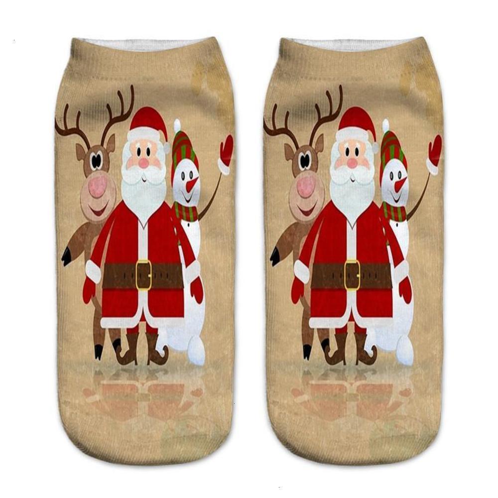 Calcetín de mujer Moda Santa Claus Milu Deer Estampado Zapatillas Donna Casual Hosiery Feliz Navidad Imprimir