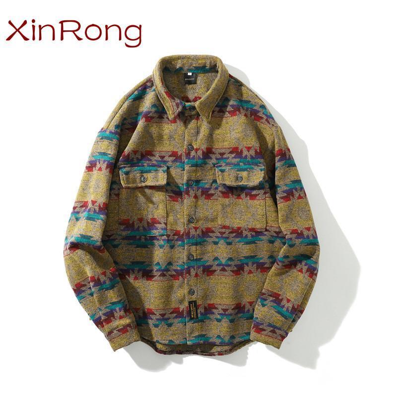 대조 색상 모든 일치 스냅 버튼 긴팔 셔츠 남성 패션 힙합 캐주얼 레트로 민족 코트 남성 유행 셔츠