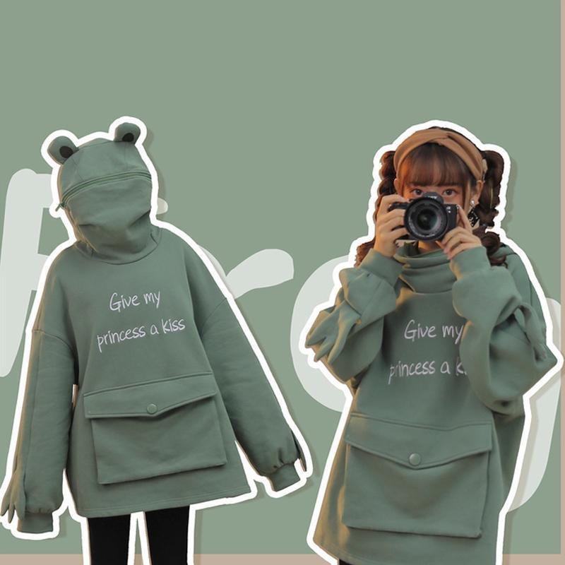 Moletons Femininos Moletons 2021 impressão carta de manga longa o pescoço para mulheres kawaii moletom mais tamanho algodão gesso meninas hoody outono