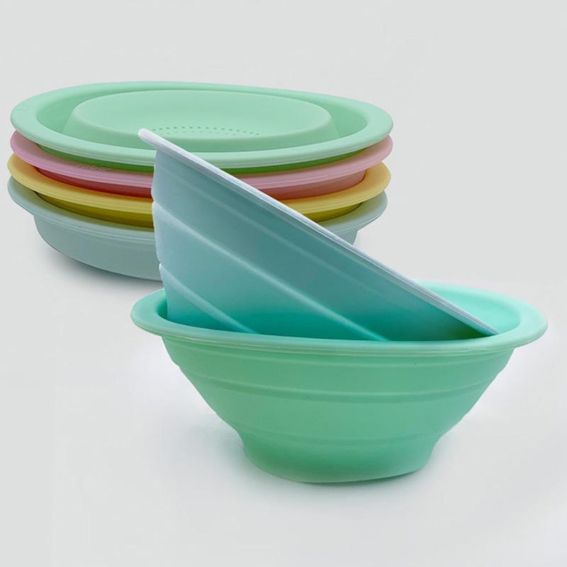 Multifunktions-Klapp-Drain-Korb Kreatives einziehbares Silikon-Frucht-Gemüse-Wasch-Waschen mit Küchenträger-Gadget-Körben