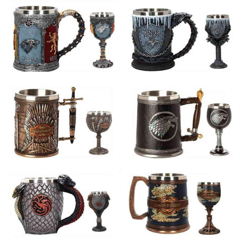 3d القوطية كأس الحديد العرش النكه المقاوم للصدأ الراتنج البيرة أكواب الجمجمة القهوة القدح النبيذ كأس كأس الأب هدية عيد