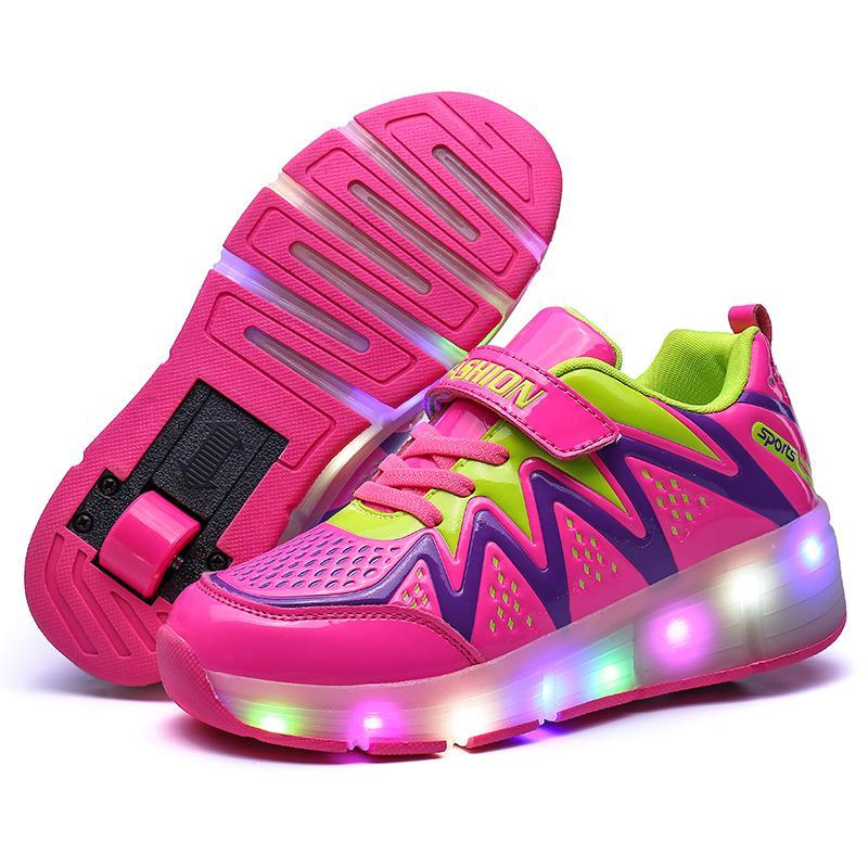 Sneakers Blue Pink Green White Fashion Girls Boys LED Light Roller Skate Shoes For Children Kids With Wheels One