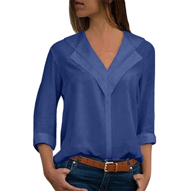 Frauen Blusen Shirts Plus Größe 5XL Frauen Tops und langarm Down Collar Office Shirt Chiffon Bluse lässig