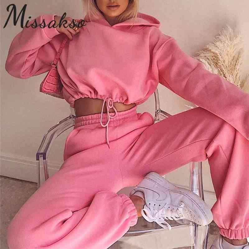 Missakso Fashion Two Piece Set Streetwear Felpe con cappuccio Tasche Autunno Inverno Top e Pantaloni Casual Donne Sport Set Sport Bianco rosa 210409