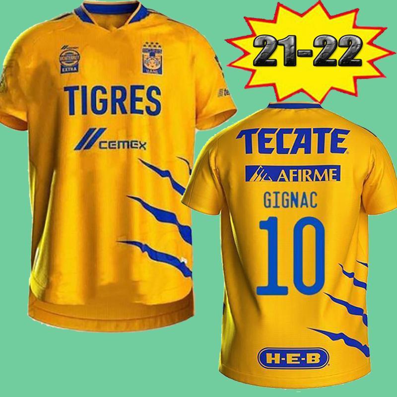21 22 Naul Tigres Home Soccer Jerseys 7 Estrellas Thailand Quality 2021 2022 Gignac Away Camiseta de Foot Maillot Shirt Vargas Damian Football Shirts