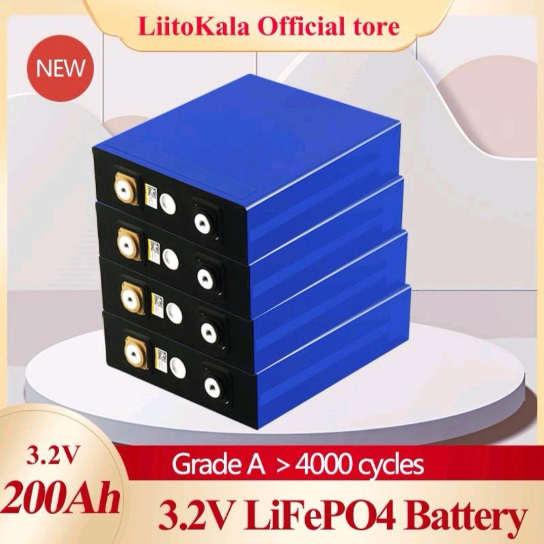 Liitokala 3.2V 200Ah Lifepo4 배터리 리튬 600A 3C 높은 드레인 DIY 12V 24V 48V 태양 인버터 전기 자동차 골프 자동차 M6 나사 열