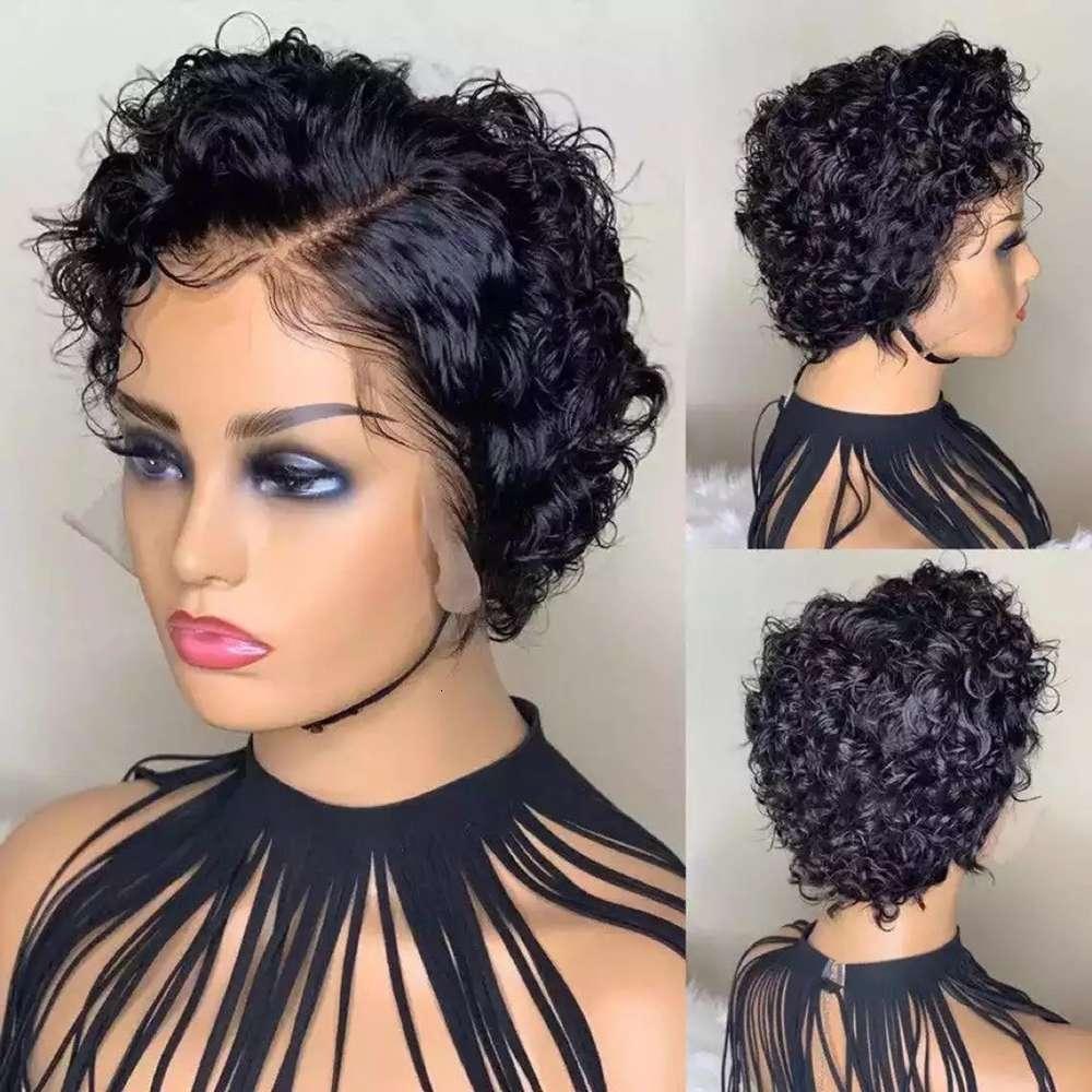 Парик женские черные пушистые маленькие вьющиеся волосы обернутые трубки короткая голова парик роза сетка без кружева волос парики