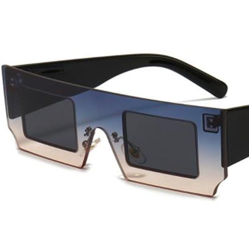 Sonnenbrille Gradientenrahmen Rechteck Sun Glasse Goggles Anti-UV-Brillen Übergröße Frames Brillen-dekorative A ++
