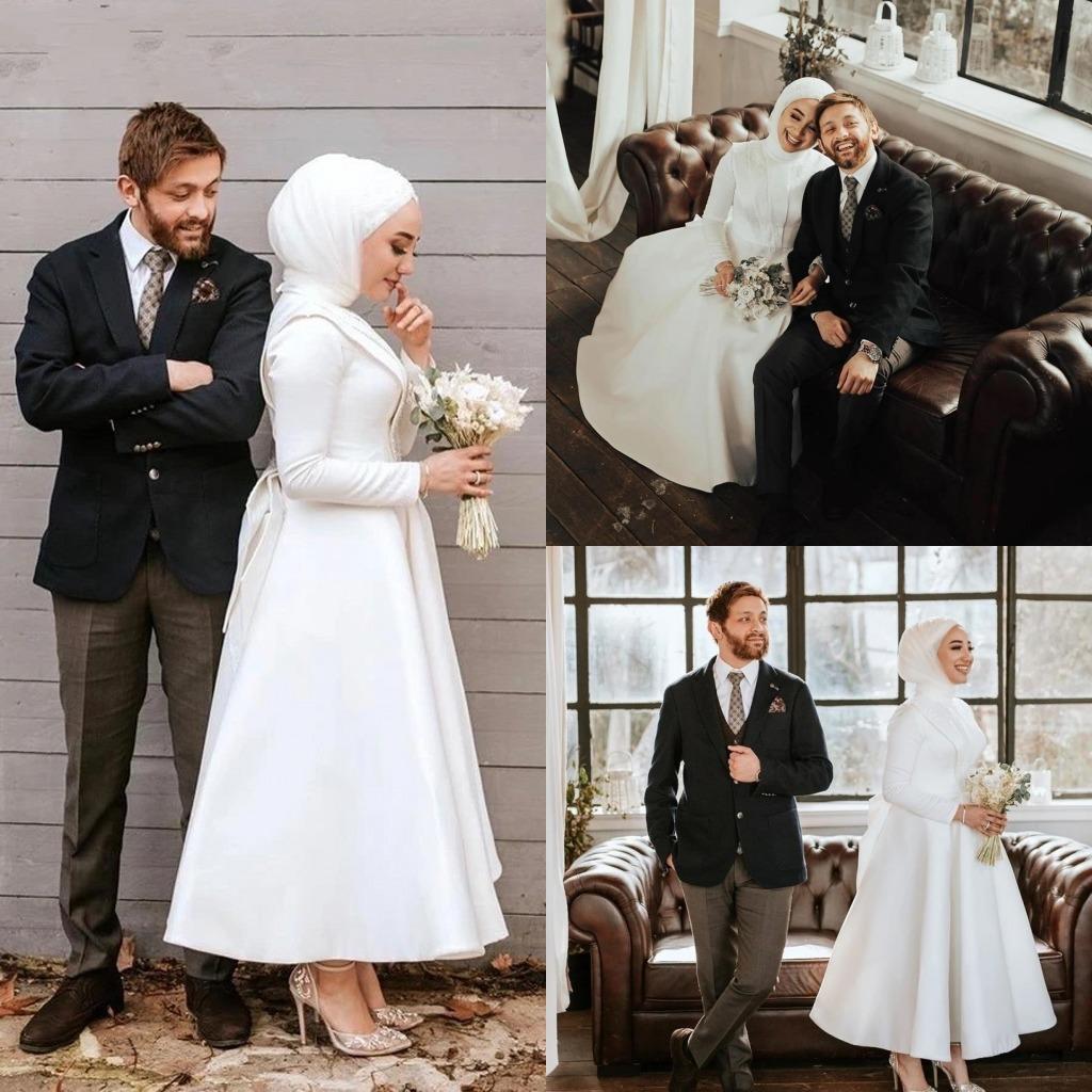 2020 robes de mariée musulmanes élégantes avec hijab à la cheville Longueur Satin manches longues et taille de romandres de mariée Moyen-Orient Arabe Vestido de Novia
