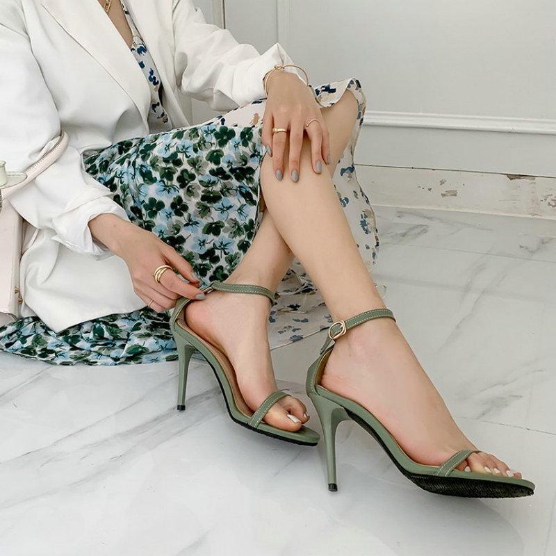 ZAWSTHIA 2021 Yaz Klasik Seksi Kadin Ayakkabıları Açık Toe Yeşil Ayak Bileği Toka Kayış Bayan Ince Yüksek Topuklu Sandalet Büyük Boy 49 50