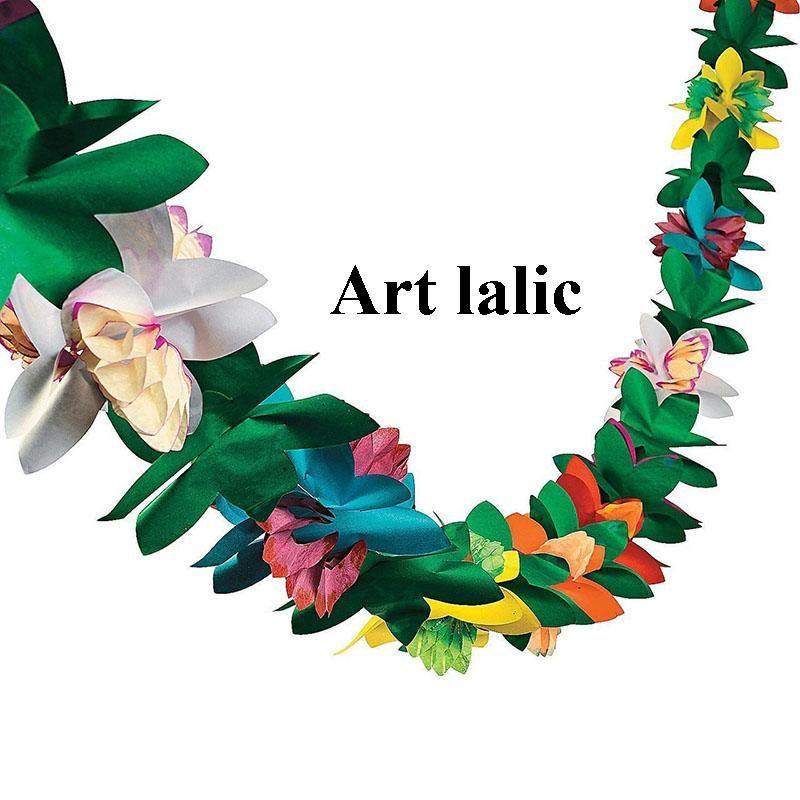 Colorido flor guirnalda bandera calidad papel cumpleaños hawaii tema verano carnaval fiesta decoración adulto niño decoración