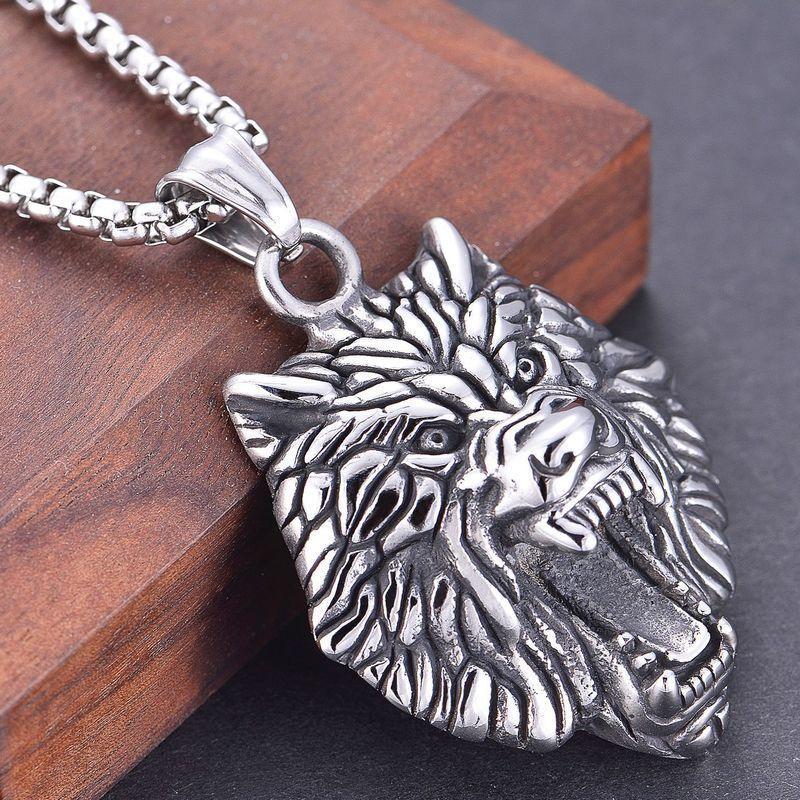 Colar jóias punk ro personalidade de aço inoxidável pingente lobo cabeça homens nelace