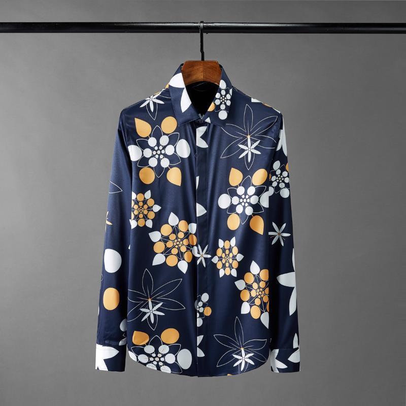 클래식 해군 여름 망 셔츠 고품질 긴 소매 꽃 모든 인쇄 된 파티 드레스 패션 슬림 맞는 남성 남성 캐주얼