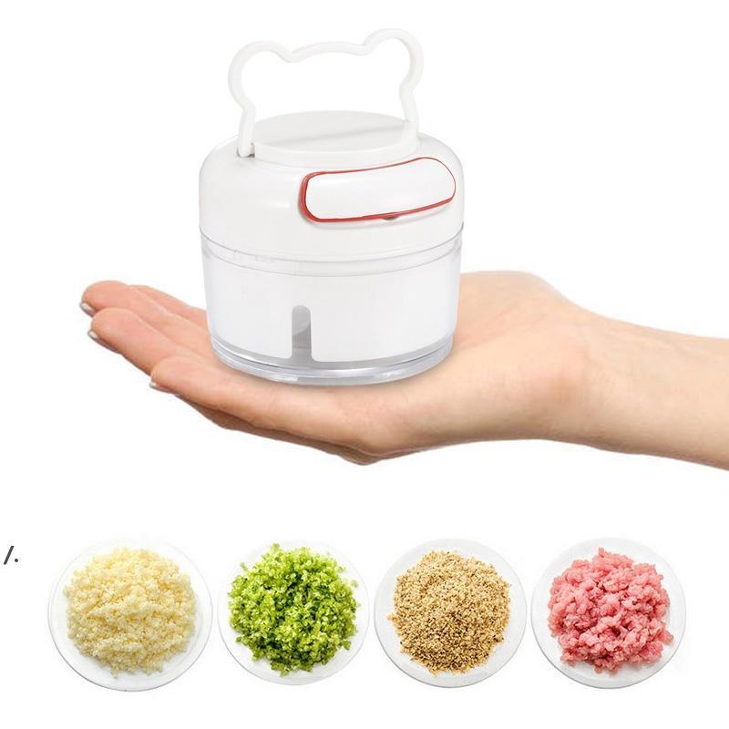 Newmini mão puxar vegetal frutas torcer tritadeira liquidificador 170ml manual multifunções Multifunction Moedor De Carne De Alho Cortador Ferramenta de Cozinha Ewe7688